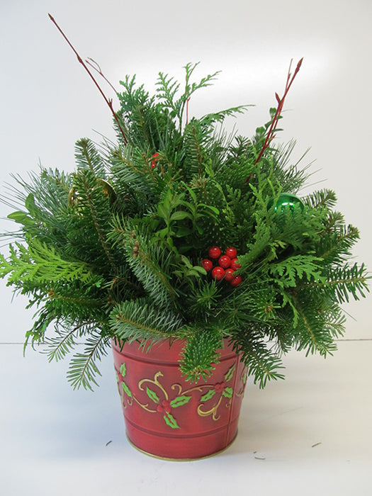 Holly Berry Metal Can Arrangement