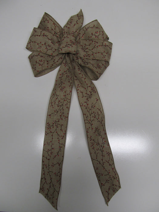 Winterberry Burlap Bow