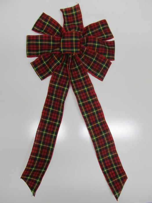 Scottish Red And Green Plaid Bow