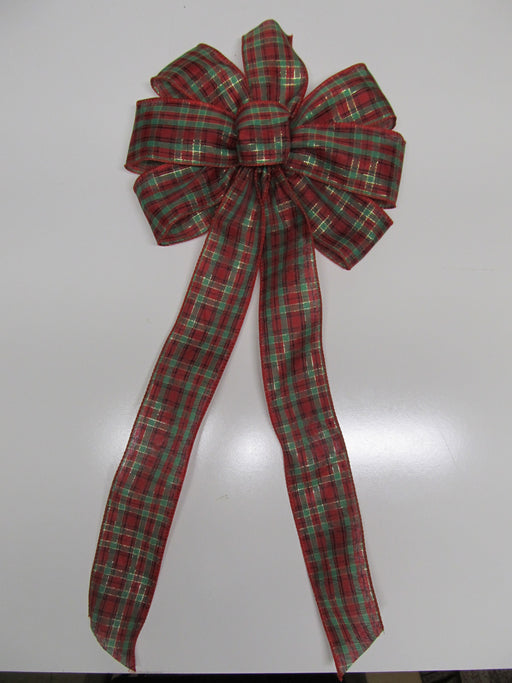 Gold Accented Plaid Bow