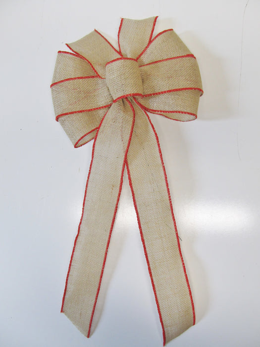 Red Edged Burlap Bow