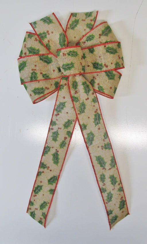 Holly Time Burlap Bow
