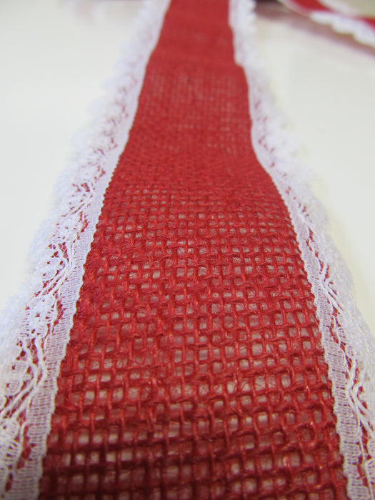 Red Burlap With White Lace Edge Bow