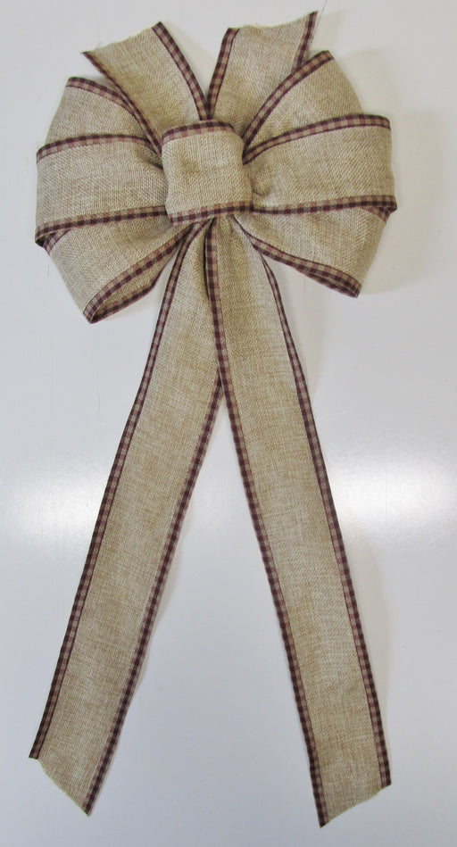 Natural Burlap With Burgundy Gingham Bow