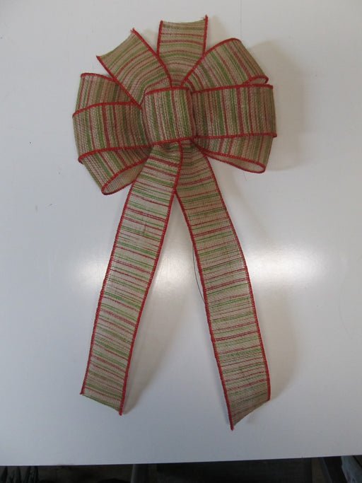 Christmas Striped Burlap Bow