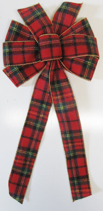 Flannel Plaid With Gold Edge Bow
