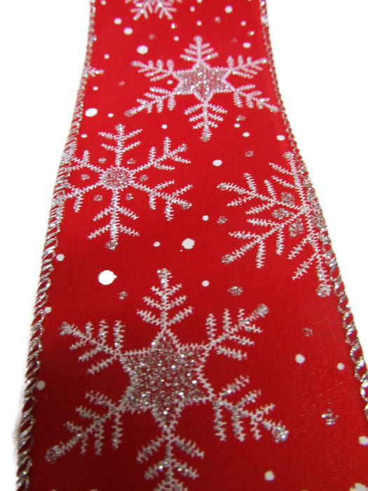 Let It Snow - Large Red Velvet With Silver Snowflakes Bow
