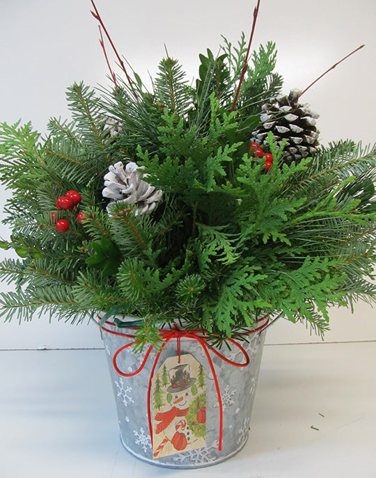 Hand Painted Snowflake Galvanized Tin Arrangement