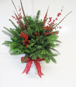 """White Christmas"" Hanging Wall Cone Arrangement"