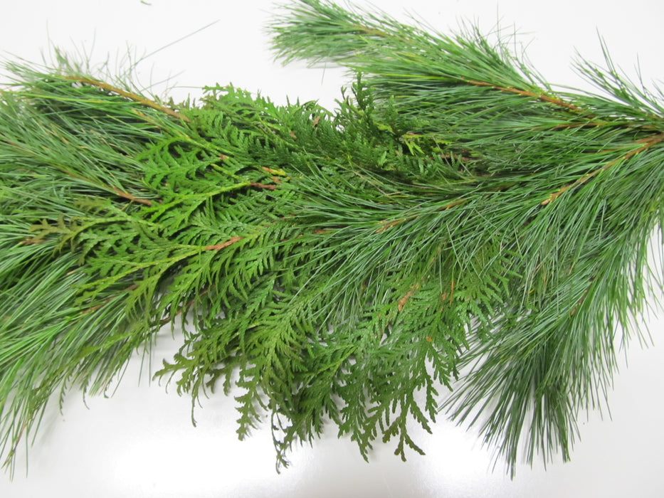 White Pine and Cedar Garland - Per Foot