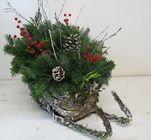 Winter Woodland Snowy Bark Sleigh Arrangement