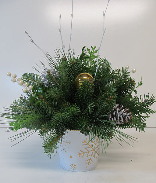 White Embossed Tin With Gold Snowflakes Arrangement