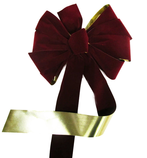 Large Burgundy Velvet With Gold Metallic Back Bow