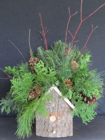 Merry Twismas Birdhouse Greenery Arrangement