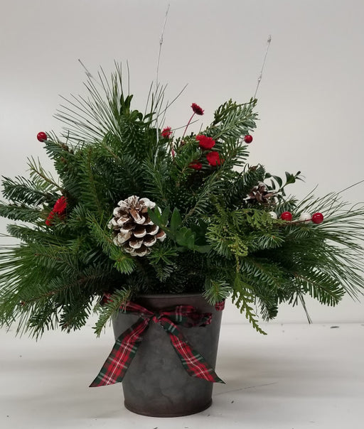 Galvanized Plaid Christmas Arrangement