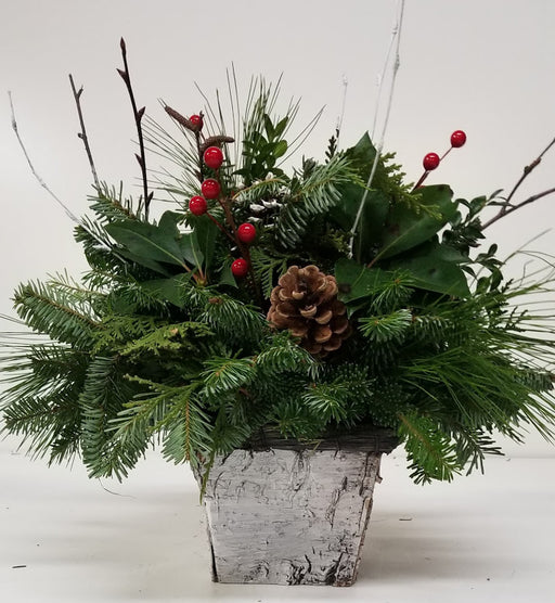 """White Christmas"" Square with Charcoal Rim Arrangement"