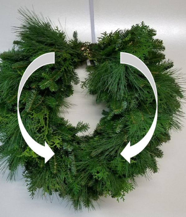Single Face Cascading Wreath - Fraser Fir, White Pine & Boxwood