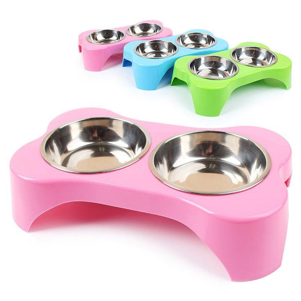 Plastic & Stainless Steel Combo Dog & Cat Bowl