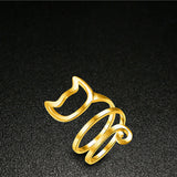 Cute Gold & Silver Cat Spiral Ring