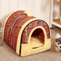 Foldable Dog & Cat House Kennel With Mat