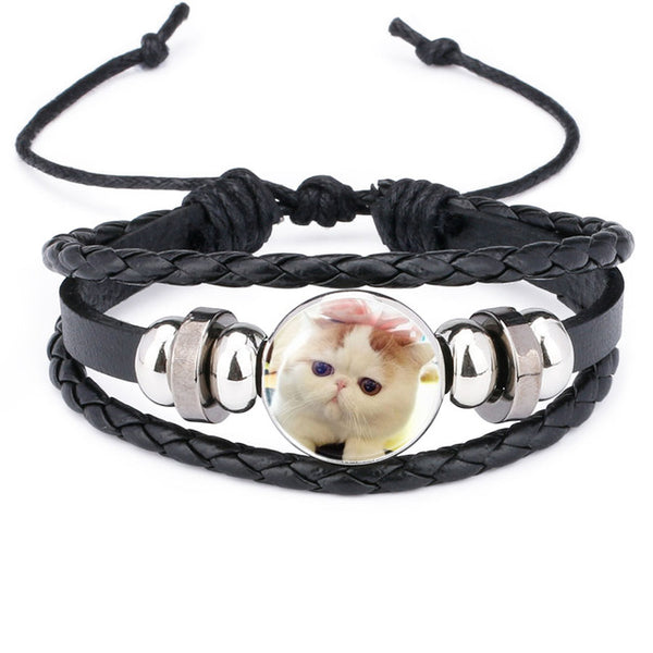 Cat Leather Braided Bracelet