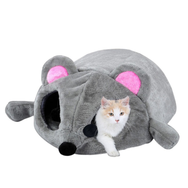 Gray Mouse Form Cat Bed