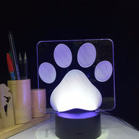 3D Table Dog Paw LED Lamp
