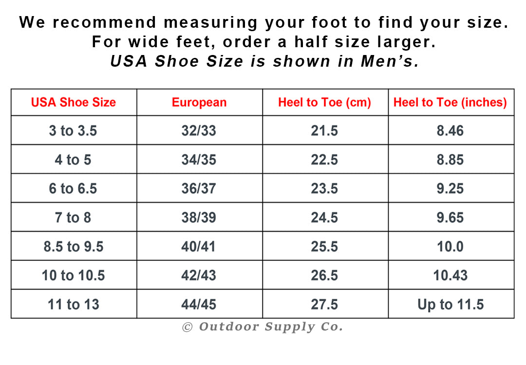 Fish Sandals Sizing Chart