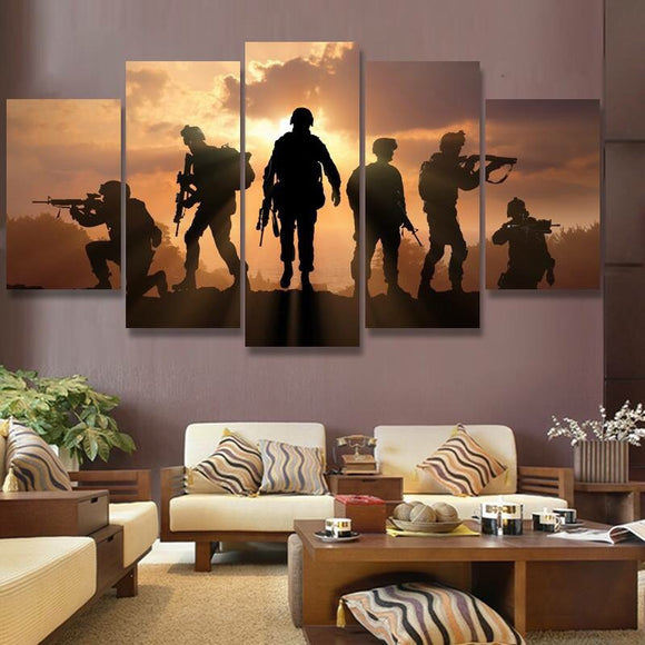 5 Piece Canvas Wall Art - Military Soldiers Sunset - Army Navy Marines Air Force Guns