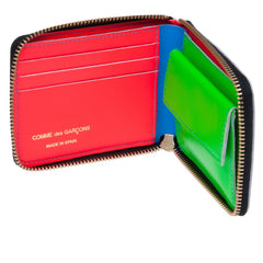 Blue Super Fluo Leather Full Zip Wallet