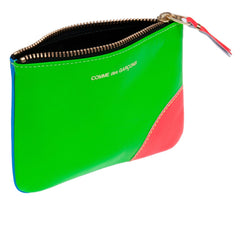 Blue/Green Super Fluo Leather Coin Pouch