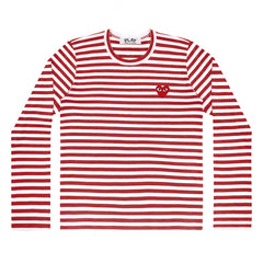 Red/White Womens Striped Long Sleeve Red Heart T-Shirt