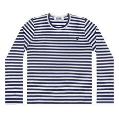 Navy/White Striped Long Sleeve Little Black Heart T-Shirt