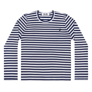 Navy/White Mens Striped Long Sleeve Little Black Heart T-Shirt