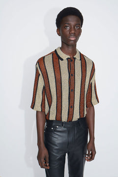 Brown/Gold Multistripe Wes Knitted Shirt