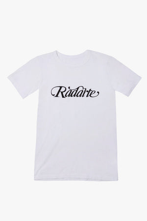 White/Black Script Text Radarte T-Shirt