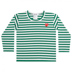 Green/White Kids Long Sleeve T-Shirt