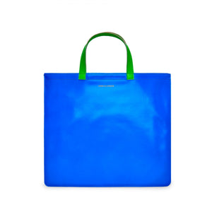 Orange/Blue Super Fluo Leather Tote Bag