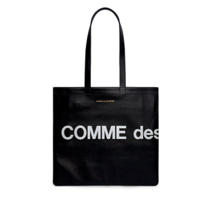 Black Huge Logo Leather Tote Bag