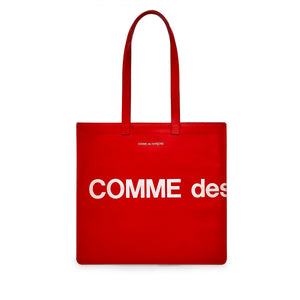 Red Huge Logo Leather Tote Bag