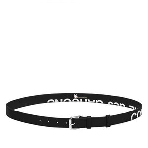 Black Huge Logo Leather Belt