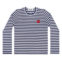 Navy/White Womens Striped Long Sleeve Red Heart T-Shirt