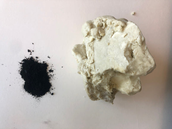 All natural unrefined Shea butter and activated charcoal from burned charcoal shells