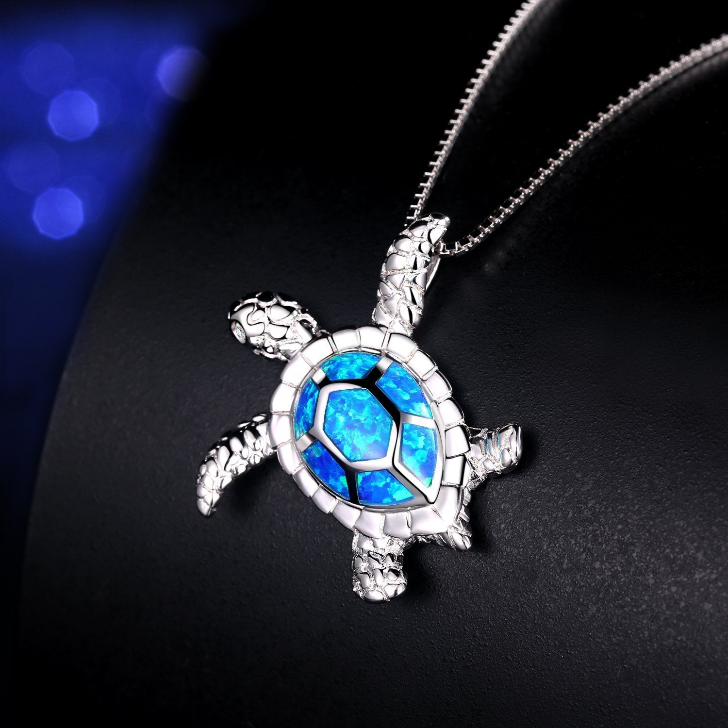 Blue opal sea turtle pendant necklace king passion blue opal sea turtle pendant necklace aloadofball Gallery