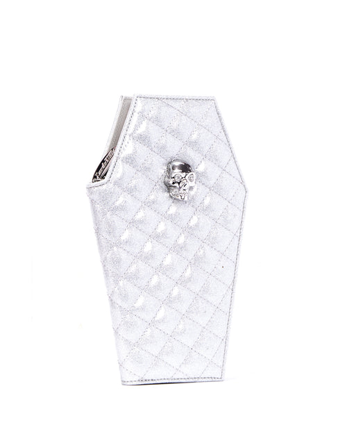 Elvira Coffin Wallet Clutch Silver Thunderstruck Sparkle - Mini Atomic Totes