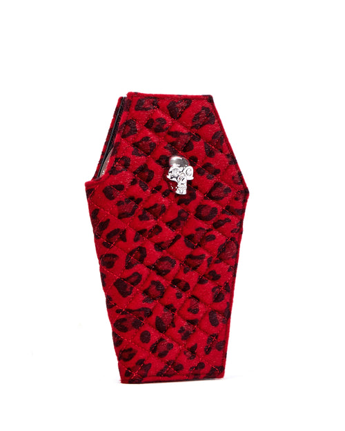 Elvira Coffin Wallet Clutch Red Leopard - Mini Atomic Totes