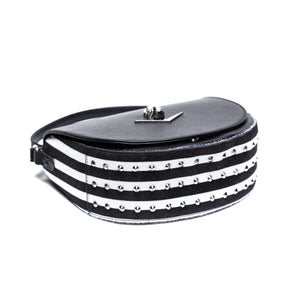 Black with Black & White Faux Fur Striped Wicked Saddle Bag