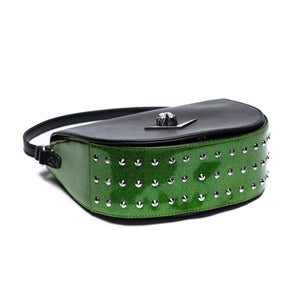 Black & Monster Green Sparkle Wicked Saddle Bag
