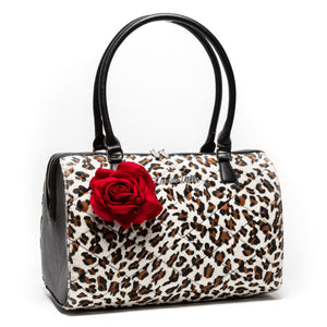 Leopard & Red Rose Valentine Large Tote