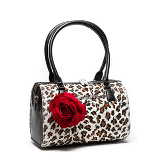 Leopard with Red Rose Valentine Medium Tote